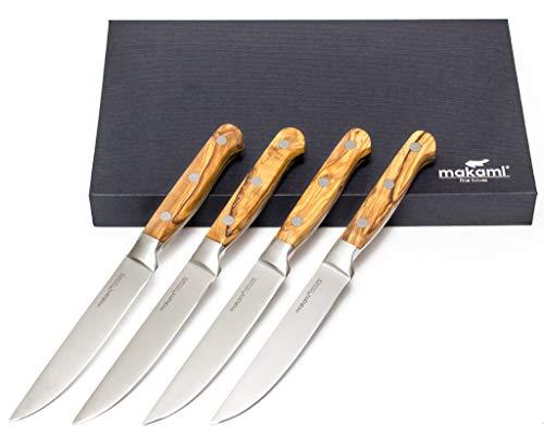 makami Steakmesser 4er-Set Olive Deluxe mit scharfer, glatter Klinge aus deutschem Messerstahl und Griff aus französischem Olivenholz in Geschenkverpackung