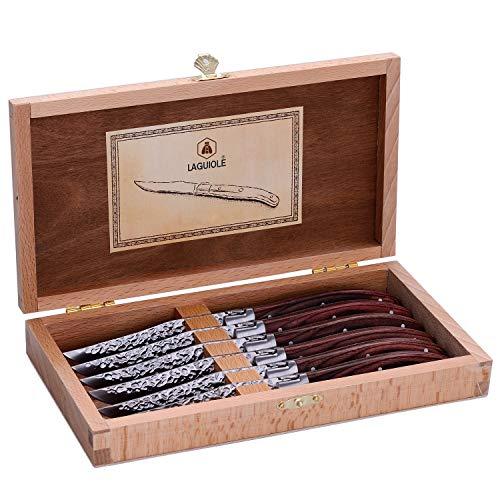 LAGUIOLE - Box mit 6 Tischmessern in braunem Pakka-Holzgriff - Edelstahl - Box mit Tischmessern für alle Anlässe geeignet. - -