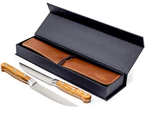makami Steakmesser Olive Deluxe aus französischem Olivenholz mit extra scharfer, glatter Klinge im 2er-Geschenkset mit Lederetui